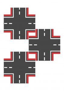 Перекресток узкий красный для машинок