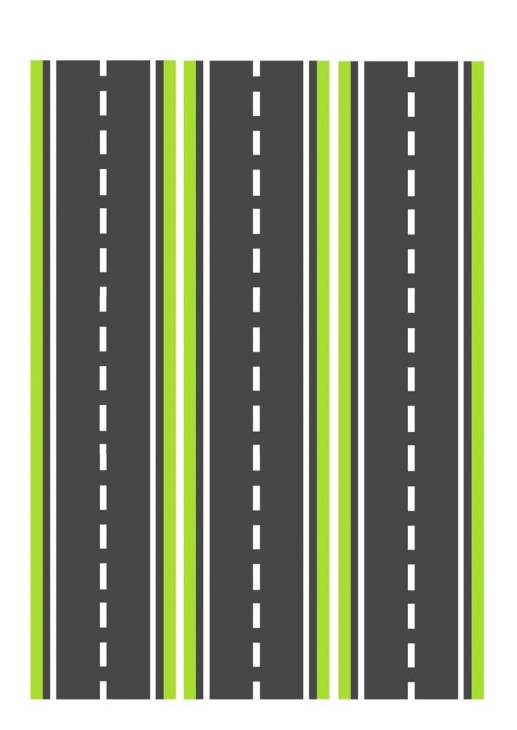 Дорога зеленая узкая для машинок