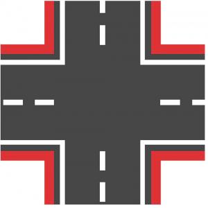 Широкий красный перекресток для машинок