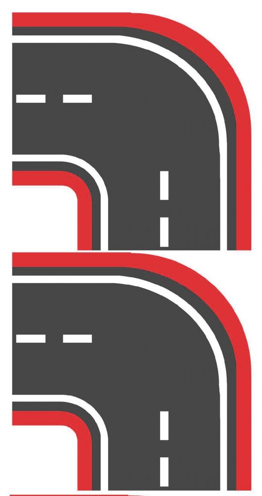 Широкий красный поворот для машинок