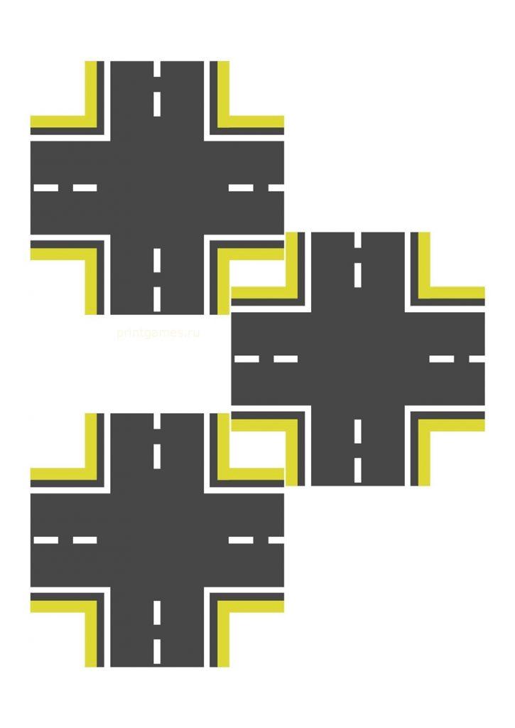 Перекресток желтый узкий для машинок