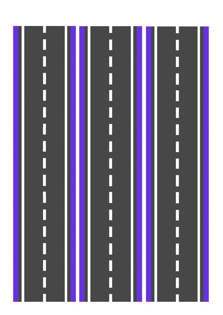Дорога фиолетовая узкая для машинок