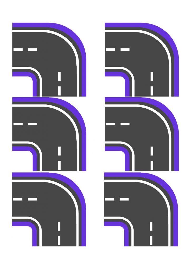 Поворот фиолетовый узкий для машинок