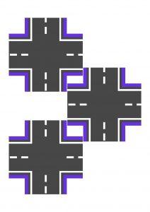 Перекресток фиолетовый узкий для машинок