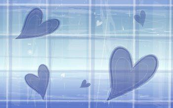 Синий фон с сердечками