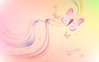Фон с бабочкой и нежными волнами