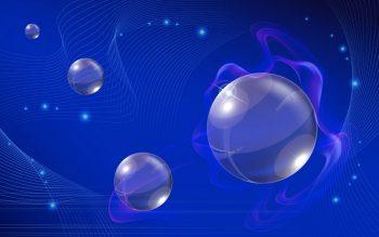 Абстракция с шарами на синем фоне