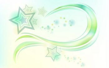 Абстракция со звездами и салатовой волной на белом фоне