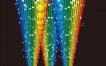 Черная абстракция с разноцветным свечением