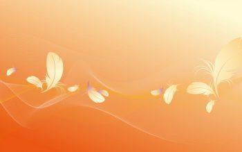 Абстракция с перьями на оранжевом фоне