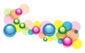 Абстракция с разноцветными пузырями на прозрачном фоне