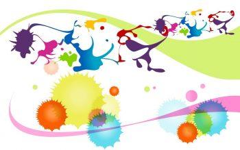Абстракция с разноцветными кляксами на прозрачном фоне