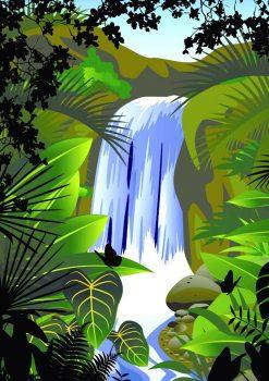 Фон с бабочками у водопада