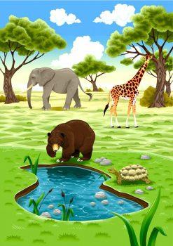 Фон со слоном, жирафом и медведем