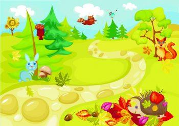 Фон с лесными животными для детей