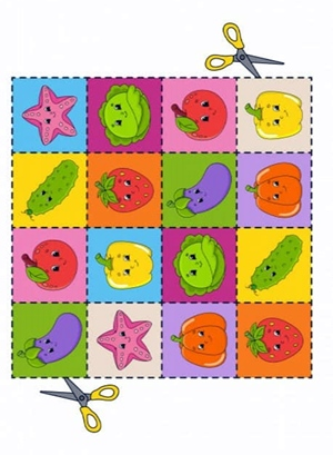 Карточки для вырезания (овощи и фрукты)