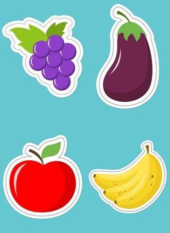 Вырезалки на 4 года (овощи и фрукты)